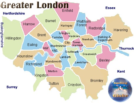 London Map Districts.Smiling Globe Trekkers Travel Tourist And Vacation Information